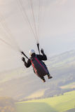 Paraglider in the sky rope view Royalty Free Stock Image