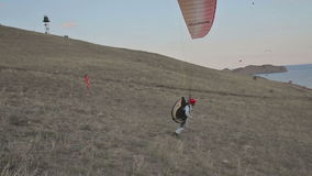 Paraglider started stock video footage