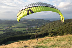 Paraglider starting on the wasserkuppe germany Stock Images