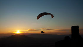Paraglider in sunset Stock Photo