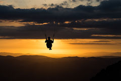 Paraglider at sunset Royalty Free Stock Photos