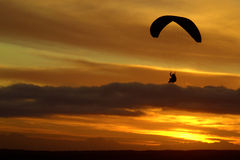Paraglider at sunset Royalty Free Stock Photo