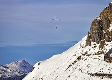 Paraglider in swiss alps Stock Images