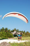 Paraglider before take off. Paraglider getting ready for take off Stock Photos