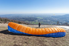 Paraglider take-off Stock Images