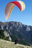 Paraglider take off - Ciucas Mountains, landmark attraction in Romania Royalty Free Stock Photography