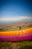 Paraglider before takeoff Royalty Free Stock Image