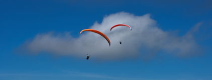 Paraglider takes off Pfonten in Bavaria Germany. Royalty Free Stock Images