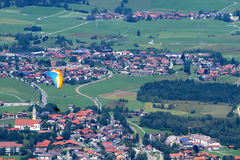 Paraglider takes off Pfonten in Bavaria Germany. Stock Images