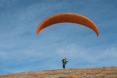 Paraglider takes off from the Treh runway Royalty Free Stock Photos
