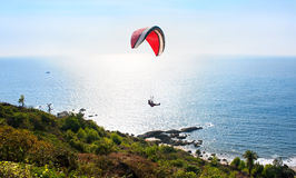 Paraglider and  Tropical beach in sunset , India Stock Photos