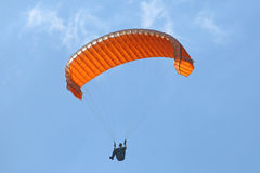Paraglider under big ears. Parglider descending under big ears Royalty Free Stock Photos