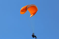 Paraglider under big ears. Parglider descending under big ears Royalty Free Stock Photo