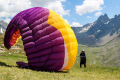 Paraglider. Unidentified paraglider in Eingadin, Switzerland. Paragliding is one of the most popular adventure sports in the world Stock Photo