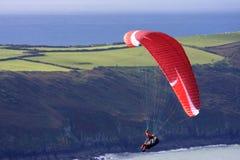 Paraglider w Północnym Devon Obrazy Stock
