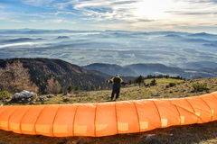 Paraglider is waiting for the right wind Stock Photo