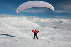 Paraglider in winter Caucasus mountains Stock Images
