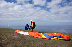 Paraglider01. Competitions of paragliders in mountains  to Almaty Stock Photos