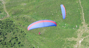 Paragliders from above Stock Photo