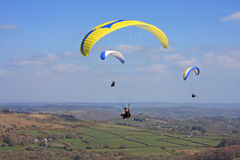 Paragliders above Dartmoor stock photography