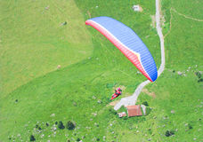 Paragliders from above. Paragliders flies below the photographer royalty free stock photos