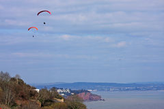 Paragliders above Labrador Bay Royalty Free Stock Photography