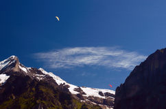 Paragliders above Swiss Alps in Jungfrau Region Stock Images