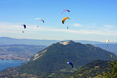 Paragliders in the Alps Royalty Free Stock Photography