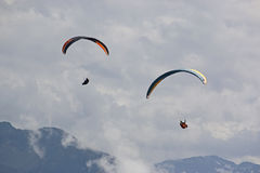 Paragliders in the Alps Royalty Free Stock Image
