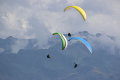 Paragliders in the Alps Stock Image