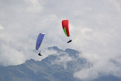 Paragliders in the Alps Stock Photography