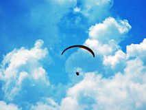 Paragliders on the Alpstein mountain range and above the Appenzellerland region stock image