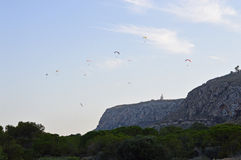 Paragliders Around The Lighthouse Stock Images