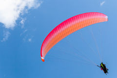 Paragliders in blue sky with clouds, tandem Stock Images