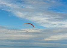 Paragliders bright blue sky Stock Image