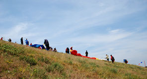 Paragliders em Prilep, Macedônia Imagem de Stock