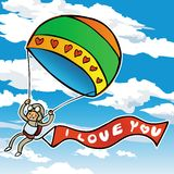 Paragliders em um céu azul com amor ilustração do vetor