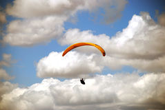 Paragliders enjoys. Paragliding in Macedonia. Paraglider on the sky Royalty Free Stock Image