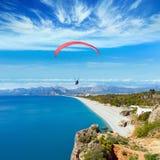 Paragliders flying above Konyaalti beach in Antalya, Turkey Royalty Free Stock Photos