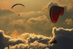 Paragliders flying over the Mediterranean sea,Turkey Stock Images