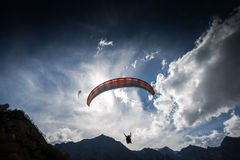 Paragliders flying Royalty Free Stock Images