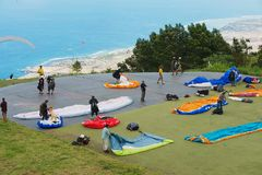 Paragliders get ready to take-off in Les Colimatons Les Hauts, Reunion. stock image