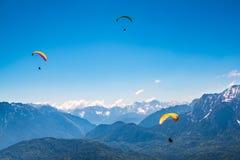 Paragliders i fjällängarna Royaltyfri Foto