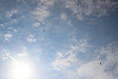 Paragliders i himlen 3 Arkivfoto