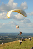 Paragliders launching from the South Downs Royalty Free Stock Photo