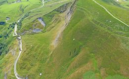 Paragliders on Mam Tor royalty free stock photography