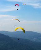 Paragliders. Royalty Free Stock Photo