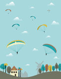 Paragliders over the country. Stock Photo