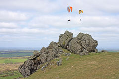 Paragliders over Dartmoor Royalty Free Stock Photography