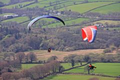 Paragliders over Dartmoor Royalty Free Stock Images